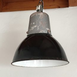 Genuine vintage pair of industrial black metal lamps