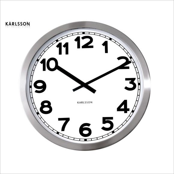 Karlsson Steel Wall Clock Lge 50cm Nz
