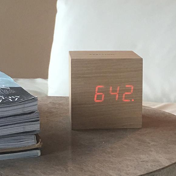 Cube elmwood alarm clock